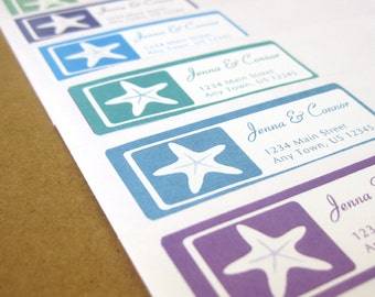 Relaxing Beach Theme! Gummed and Perforated like classic stamps. Custom Return Address Labels