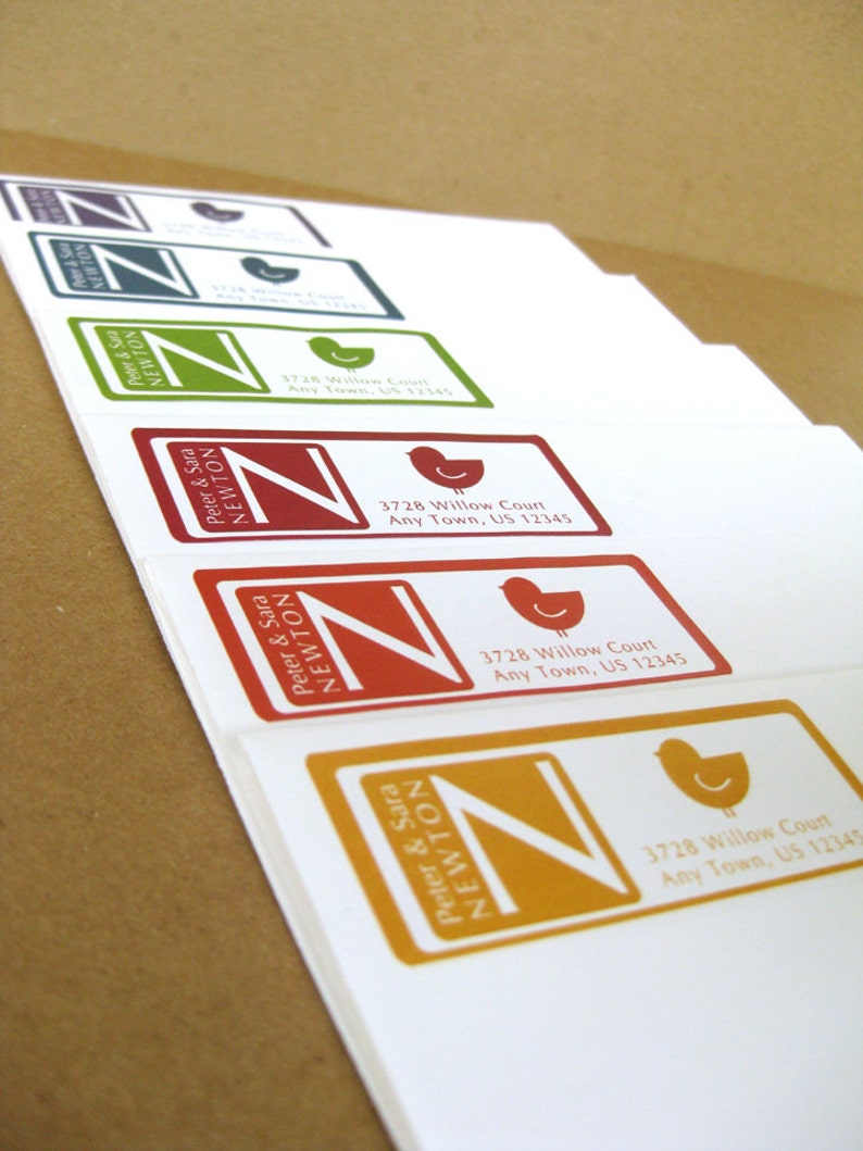 60 Custom Stickers in 6 colors or custom Monogram Little Bird Cute Personalized Custom Address Labels Bird Return Address Label Stickers