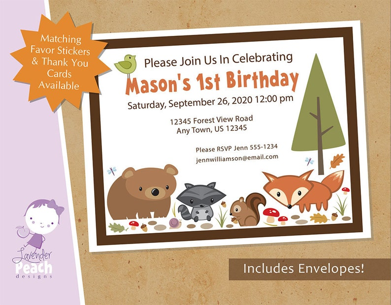Forest Animal Birthday Invitations with Envelopes image 0