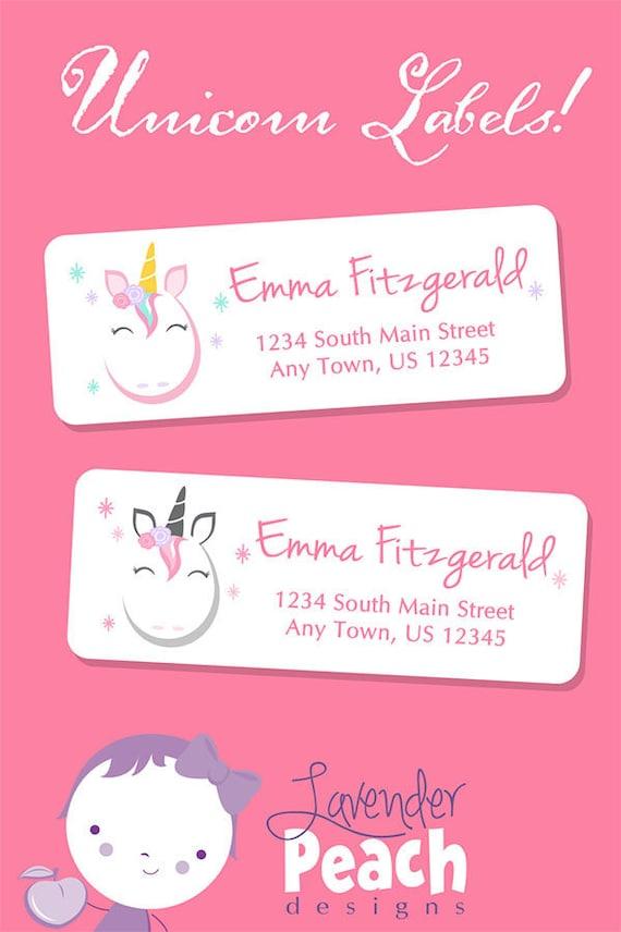 30 etiquetas de dirección de retorno Unicornio Personalizado Pegatinas Etiquetas favores