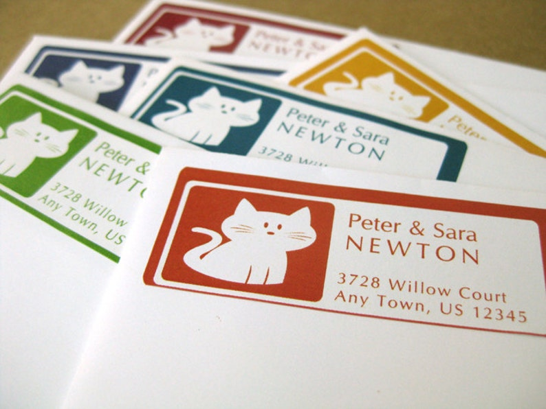 Kitty Cat Personalized Address Labels 60 Custom Stickers in 6 image 0