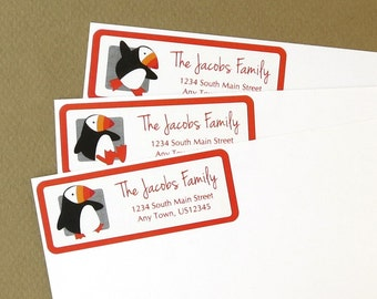 Puffin Address Labels, Return Address Labels, Address Stickers, Puffins, Personalized Address Labels, Custom Address Labels, Penguin Labels