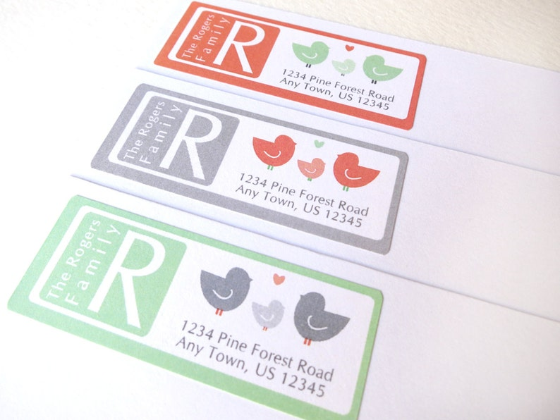 Bird Family Address Label Stickers Monogram Labels Return image 0