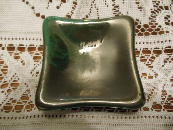 Hand Made In America Black Mardi Gras on Clear Art Glass Soap Dish