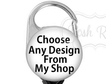 Posh Reels Carabiner Badge Reel, Choose Any Image From My Shop, Carabiner Badge Holder, Posh Reels Carabiner