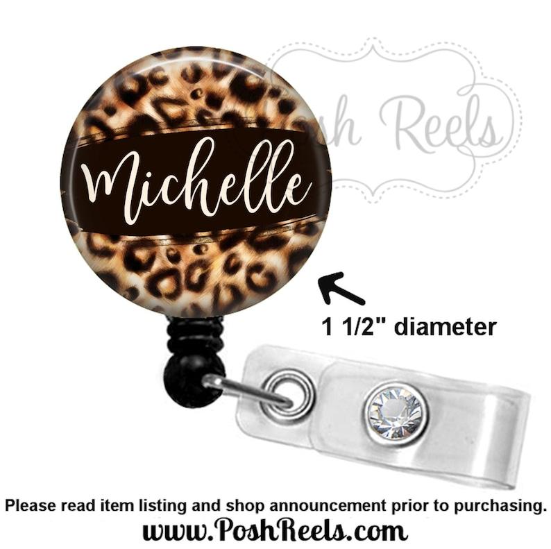 Stethoscope Tag Leopard Print Badge Reel Leopard Print Badge Holder Retractable Animal Print Badge Reel 2037 Carabiner or Lanyard