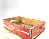 Coca Cola Wood Box, Storage Box, Advertising Box, Red, Pop crate, Soda Crate