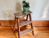 Step Stool, Kitchen Stool Shabby Chic, Wood Stool, Wood Ladder, Step Ladder, Vintage Ladder, Plant Stand