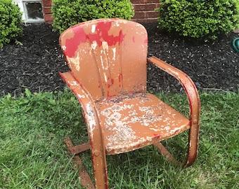Vintage Metal Lawn Chairs >> Metal Lawn Chair Etsy