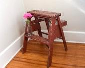 Farm Step Stool, Kitchen Stool Shabby Chic, Wood, Red farm Stool, Chair