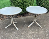 Vintage Metal Table, Outdoor Patio Table, Outside Furniture, Plant Stand, Lawn Table