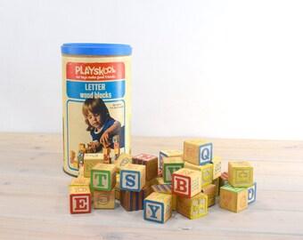 Playskol Wood Blocks, Alphabet Letters,