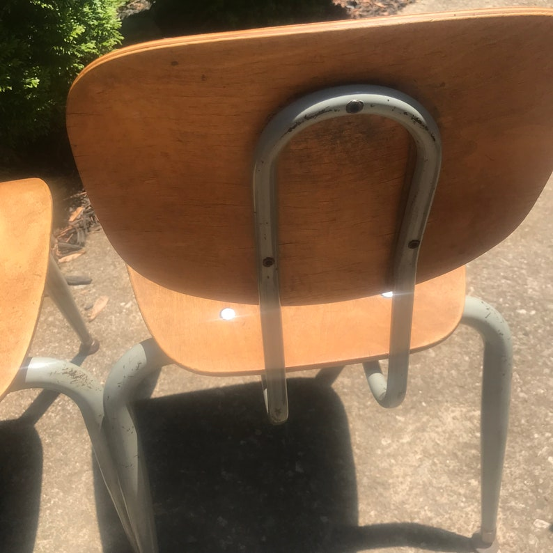 Vintage Wood /& Metal School Chair Small Size 14 Set of 2