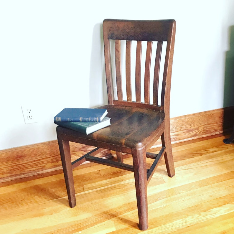 Vintage Wood Chair Teacher Adult Size Mid Century Vintage Chair Wood Slat  Chair Desk Chair