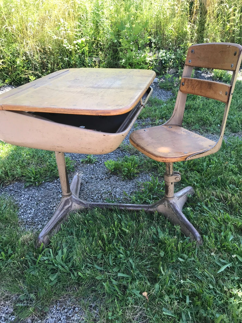 Vintage School Desk Wood and Metal, SMALL Size Seat