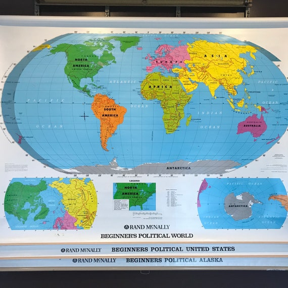 Vintage School Map, World Map, Pull Down Map, Large Industrial Wall Map of  World, US Map, Political Map