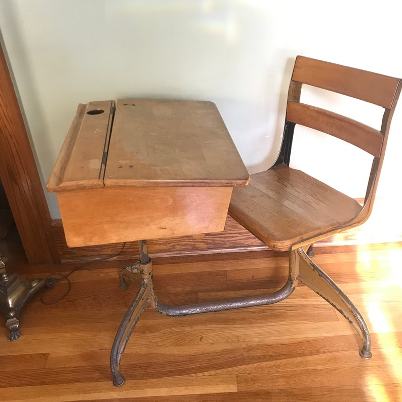 Incredible Vintage School Desk Wood And Metal Adjustable Height Adult Child Size Ocoug Best Dining Table And Chair Ideas Images Ocougorg