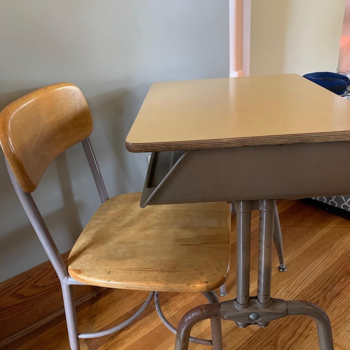 """Vintage School Desk Metal -School Desk, Adult Size Desk, Adjustable American Desk,  21""""-29"""""""