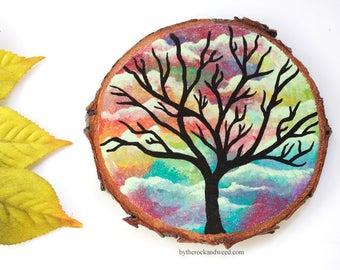 """Rainbow Tree Painting, Hand-Painted Wood Slice Painting, 3.25"""" Tree Art, Wood Painting, Tree and Rainbow Galaxy Painting, Wood Slice Art"""