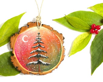 """Hand-Painted Pine Tree Ornament, 3"""" Wood Slice Painting, Glittering Fir Tree Ornament, Wood Painting, Pine Tree Painting, Moon and Star"""