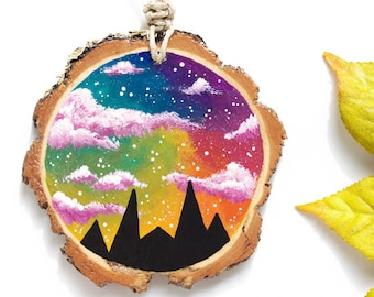 """Wood Slice Ornament, Mountain Painting with Rainbow Sky, 2.75"""" Wood Slice Painting, Rainbow Mountain Wood Painting, Hand-Painted Wood Slice"""