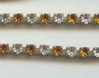 3 Feet Vintage Glass Topaz And Crystal 4mm. Austrian Rhinestone Brass Chain 4321