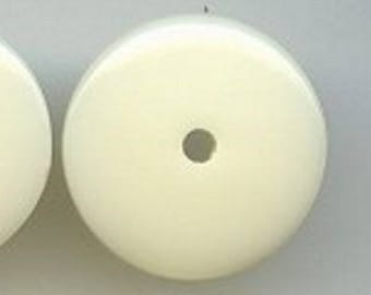 12 Vintage Creme Acrylic 5x18mm. Smooth Disc Spacer Beads 5161
