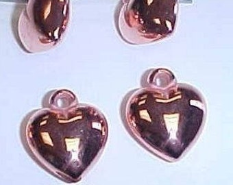 12 Vintage Copper Coated Acrylic 12mm. Puffed Heart Pendant Bead Charms 2289