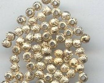 50 Vintage Gold Metallic Textured Acrylic 3mm. Round Beads 829