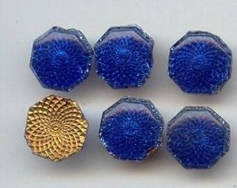 24 Vintage Glass Sapphire 12mm. Octagon Deco Cabochon Plaque Tiles 6955