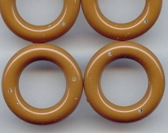 24 Vintage Brown Acrylic 31mm. Round 2 Hole Ring Pendants 6551