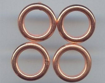 36 Vintage Copper Coated Acrylic 16mm. Round Ring Beads 1095