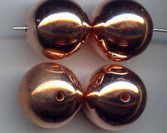 6 Vintage Copper Coated Acrylic 21mm. Smooth Round Beads 4203
