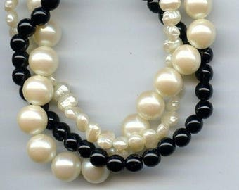 "Vintage Japan Pearl And Jet Acrylic 3 Strand Round And Nugget Beaded 8"" Section 1595"