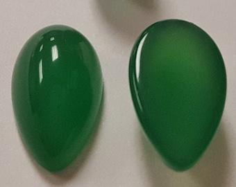 2 Green Jade 18mm Cabochons Pear Teardrop Gemstone cab0570