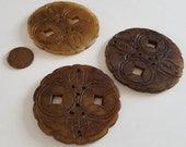 Vintage Genuine Light Brown Jadeite Chinese Jade 57mm. Round Geometric Hand Carved Floral Design Pendant R533