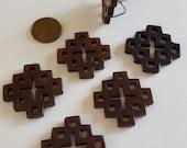 Vintage Genuine Dark Brown Jadeite Chinese Jade 31x31mm. Hand Carved Celtic Cross Pendant R529