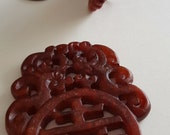 Vintage Genuine Red Jadeite Chinese Jade 60x47mm. Hand Carved Two Birds Asian Writing Pendant R535