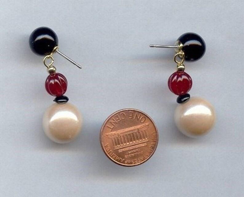 6 Vintage Jet Ruby Pearl Acrylic Beaded 1.25 Dangle Drop Pierced Earrings 3363