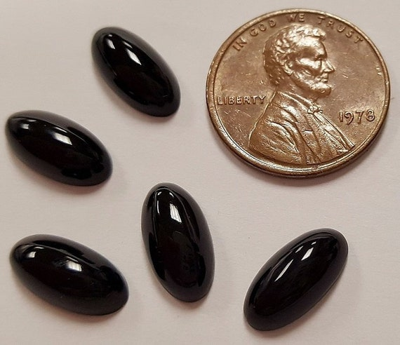 ROUND CABOCHON PLAQUES R727 6 VINTAGE GENUINE BLACK ONYX GEMSTONE 9mm