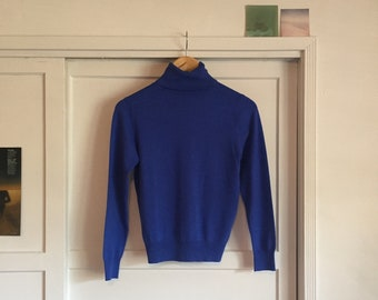 Bold Blue Turtleneck Pullover Sweater