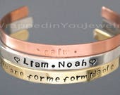 Hand Stamped CUFF Bracelet - PERSONALIZED Bangle Jewelry Hidden Message Love Mom Granny Family Sister Heart Dove 1 4 quot Aluminum Copper Gold