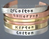 Hand Stamped CUFF Bracelet - PERSONALIZED Bangle Jewelry Hidden Message Mantra Name Family Sister Heart Dove 1 4 quot Aluminum Copper NuGold