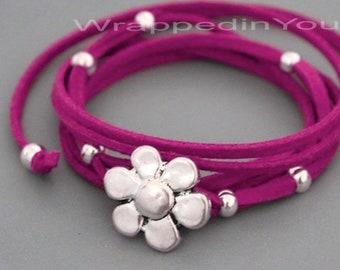 Silver Tibetan Style FLOWER Boho Wrap Bracelet / Anklet - Microfiber Faux Suede Leather Bohemian Wrap - Pick COLOR / LENGTH - Usa - 716
