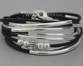 Wrap Bracelet - INTERCHANGEABLE LOOK Silver Tube Triple Leather Wrap Bracelet - CASCADING Adjustable Boho Wrap Beaded Leather Bracelets 769