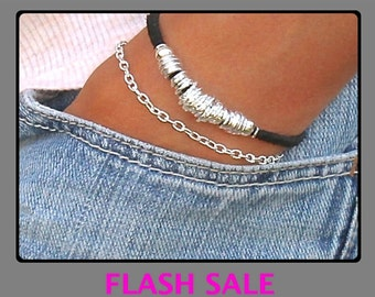 Boho Genuine Leather Suede Cord w/ Silver Chain and Links Gypsy Beaded Stackable Bracelet - Pick COLOR / Size - 239