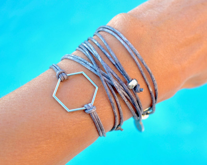 Choker Adjustable Hexagon Symbol of Harmony Truth Convertible Minimalist Boho Cuff INFINITY WRAPS Anklet 3 in 1 LEATHER Wrap Bracelet