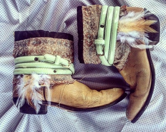 Boho Boots/Gypsy Boots/Hippie Boots/Up Cycled Boots/Cowgirl Boots/Boho Chic Boots