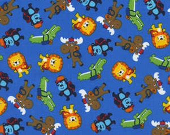 Cute Animals on Blue Cotton Woven Fabric by Timeless Treasures by the yard