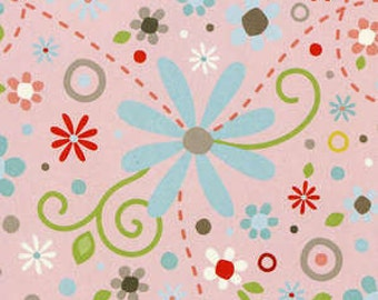 Multi Colored Flowers on Pink Cotton Woven Fabric by Adorn It Adornit Nested Owls by the yard